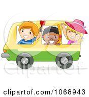 Clipart Stick Kids On A Bus Heading To The Beach Royalty Free Vector Illustration