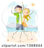 Clipart Stick Couple Dancing On The Beach Royalty Free Vector Illustration