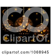Clipart 3d Evil Halloween Lanterns With Bats Stars And Moons Royalty Free Vector Illustration