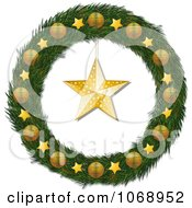Clipart 3d Christmas Wreath With Golden Stars And Ornaments Royalty Free Vector Illustration by elaineitalia