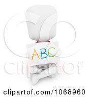 Clipart 3d Ivory School Kid Holding An ABC Card Royalty Free CGI Illustration