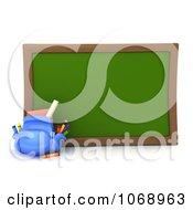 Clipart 3d School Bag And Chalk Board Royalty Free CGI Illustration