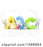 Clipart 3d Ivory School Kids With ABC Royalty Free CGI Illustration