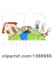 Clipart 3d Ivory School Kids Walking To School Royalty Free CGI Illustration