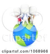 Clipart 3d Ivory School Kids On A Globe Royalty Free CGI Illustration