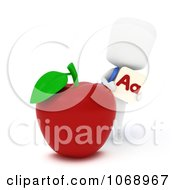Clipart 3d Ivory School Boy With An Apple And Flash Card Royalty Free CGI Illustration