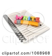 Clipart 3d WRITE And Pencil On A Notebook Royalty Free CGI Illustration