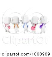 Clipart 3d Ivory School Kids Jumping Royalty Free CGI Illustration