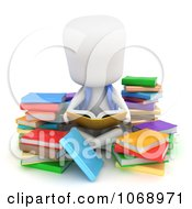 Clipart 3d Ivory School Boy Reading Royalty Free CGI Illustration
