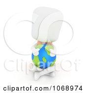 3d Ivory School Boy Hugging A Globe