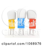 Clipart 3d Ivory School Kids Holding Flash Cards Royalty Free CGI Illustration
