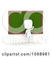 Clipart 3d Ivory School Boy Writing On A Chalk Board Royalty Free CGI Illustration