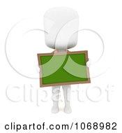 Clipart 3d Ivory School Boy Holding A Chalk Board Royalty Free CGI Illustration