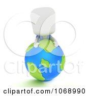 3d Ivory School Boy On A Globe