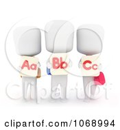 Clipart 3d Ivory School Kids With Flash Cards Royalty Free CGI Illustration