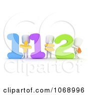 Clipart 3d Ivory School Kids Doing Addition Royalty Free CGI Illustration