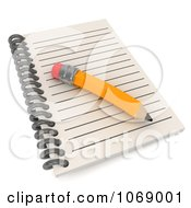 Clipart 3d Notebook And Pencil Royalty Free CGI Illustration