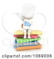 Clipart 3d Ivory School Boy With A Flash Card And Books Royalty Free CGI Illustration