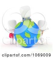 3d Ivory School Kids Around A Globe