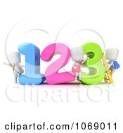 Clipart 3d Ivory School Kids With Numbers Royalty Free CGI Illustration