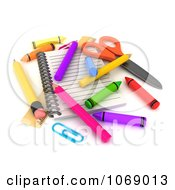 Clipart 3d Notebook With Crayons And Pencils Royalty Free CGI Illustration