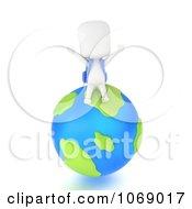 3d Ivory School Boy Sitting On A Globe