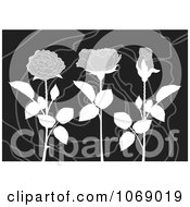 Clipart Grayscale Roses On A Swirl Background Royalty Free Vector Illustration by Any Vector