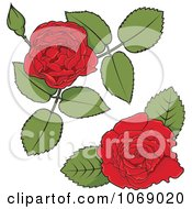 Clipart Red Rose Corner Design Elements Royalty Free Vector Illustration