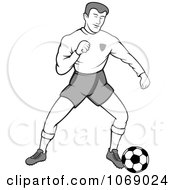 Clipart Grayscale Soccer Player Royalty Free Vector Illustration by Any Vector