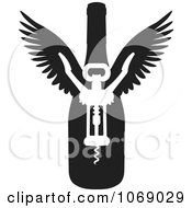Clipart Black And White Winged Wine Bottle And Corkscrew Royalty Free Vector Illustration
