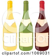 Clipart Three Wine Bottles With Blank Labels Royalty Free Vector Illustration