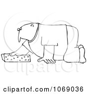 Clipart Outlined Man Kneeling And Cleaning With A Sponge Royalty Free Vector Illustration
