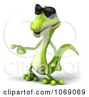 Clipart 3d Gecko Pointing Left Royalty Free CGI Illustration