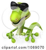 Clipart 3d Gecko Pointing To A Sign Royalty Free CGI Illustration