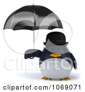 Clipart 3d Gentleman Penguin With An Open Umbrella 1 Royalty Free CGI Illustration
