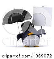 Clipart 3d Gentleman Penguin With A Sign 5 Royalty Free CGI Illustration