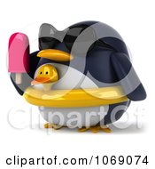 Clipart 3d Penguin With A Popsicle And Inner Tube 2 Royalty Free CGI Illustration