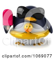 Clipart 3d Penguin With A Popsicle And Inner Tube 1 Royalty Free CGI Illustration