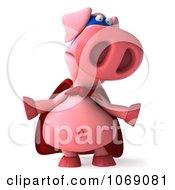 Clipart 3d Super Hero Pookie Pig Shrugging Royalty Free CGI Illustration by Julos