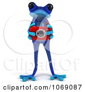 Clipart 3d Blue Springer Frog Taking Pictures 1 Royalty Free CGI Illustration