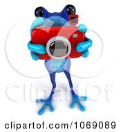 Clipart 3d Blue Springer Frog Taking Pictures 3 Royalty Free CGI Illustration