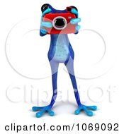 Clipart 3d Blue Springer Frog Taking Pictures 2 Royalty Free CGI Illustration