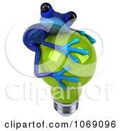 Clipart 3d Blue Springer Frog Hugging A Green Bulb 2 Royalty Free CGI Illustration