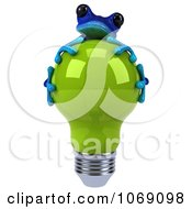 Clipart 3d Blue Springer Frog Hugging A Green Bulb 1 Royalty Free CGI Illustration