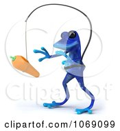 Clipart 3d Blue Springer Frog Chasing A Carrot On A Stick 2 Royalty Free CGI Illustration