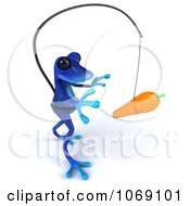 Clipart 3d Blue Springer Frog Chasing A Carrot On A Stick 3 Royalty Free CGI Illustration