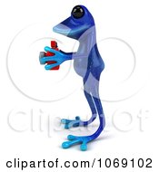 Clipart 3d Blue Springer Frog Taking Pictures 5 Royalty Free CGI Illustration