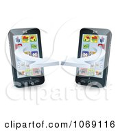 Clipart 3d Cell Phones Syncing Royalty Free Vector Illustration