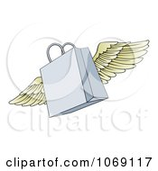 Clipart Winged Shopping Bag Royalty Free Vector Illustration by AtStockIllustration