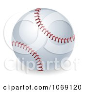Clipart 3d Stitched Baseball Royalty Free Vector Illustration